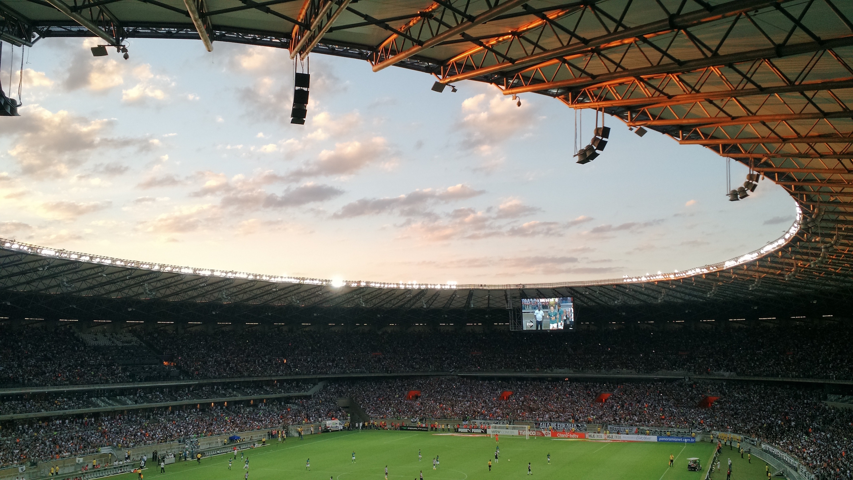 View from the stands in Stadium. The Cross Language Processing help the crowd to understand what happen through display