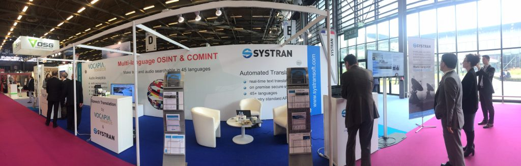 A demo at SYSTRAN's stands during EUROSATORY exhibition.