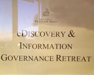 Official eDiscovery & Information Governance Retreat Poster for SYSTRAN Demos at Relativity.