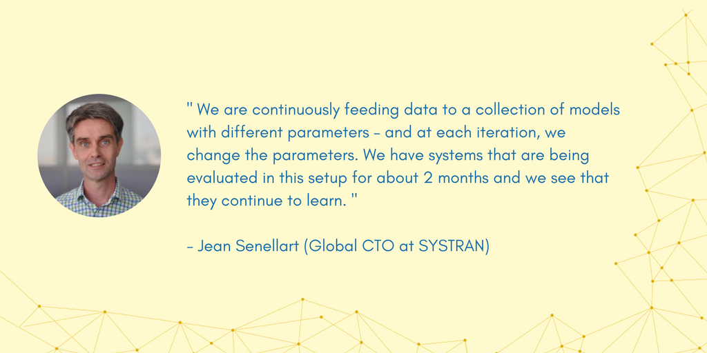Picture and quote of Jean Senellart, Global CTO of SYSTRAN. Talks about AI, data and technology.
