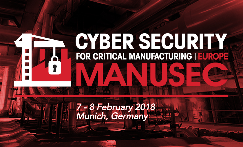 Porter of the event MANUSEC focuses on Cyber Security for Critical Manufacturing. There you can see a crane and a padlock