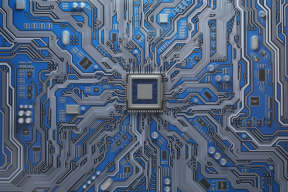 Circuit board system chip with core processor.