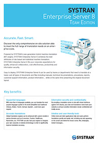 SYSTRAN Enterprise Server 8 Team Edition datasheet